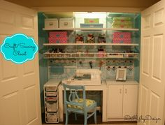Closet Neat and tidy craft room.in a closet! A great way to keep your crafts organized for good.Neat and tidy craft room.in a closet! A great way to keep your crafts organized for good. Sewing Closet, Sewing Room Storage, Sewing Room Organization, Craft Room Storage, Craft Rooms, Organization Ideas, Storage Ideas, Paper Storage, Office Storage