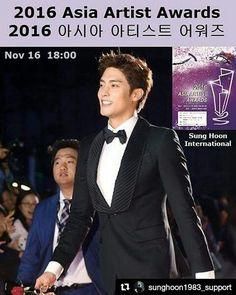 #Repost @sunghoon1983_support ・・・ [ AAA ] #SUNGHOON will attend 2016 #AAA (Asia Artist Awards)  아시아 아티스트 어워즈 ... *생중계 정보* * Live streaming information .... #V앱 #Vapp ▶ http://www.vlive.tv/video/16731 ... #한국 #Korea ▶ 머니투데이방송(MTN) Money Today (#MTN) .. #중국 #China ▶ 바이두 모바일 #Baidu Mobile ... #일본 #Japan ▶ TV아사히 티비 Asahi TV . #성훈 #배우성훈  @sunghoon1983파이팅!  #ソンフン#방성훈#成勋 #成勛 #고결한그대 #noblemylove #오마이비너스#ohmyvenus #아이가다섯#FiveChildren #돌아와요부산항애  #애타는로맨스 #MysecretRomance  #아이돌마스터KR…