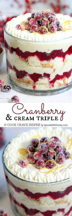 This easy Cranberry Trifle features soft cake layered with sweet tart cranberries and homemade custard. This beautiful dessert is perfect for any time of year! | Posted By: DebbieNet.com |
