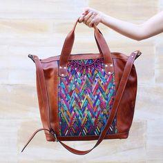 The Weekender Bag : Handmade Guatemalan Travel Bag / Leather / Woven Vintage…