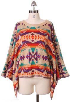Aztec Pattern Wool Cape