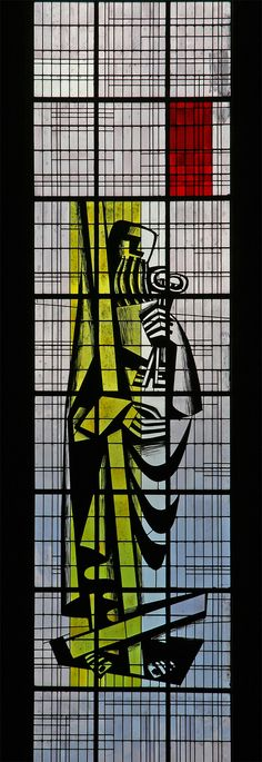 Stained glass by Maurice Rocher, 1957, in the church of St. Louis,
