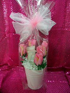 This beautiful bucket is filled with silk roses & our Satin Hands set.  A beautiful birthday, anniversary, Mothers Day, shower gift, wedding party gift or any occasion.