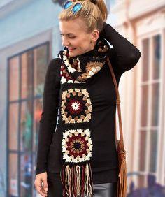 Granny Neutrals Scarf: FREE crochet pattern