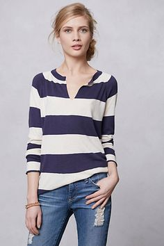 Notched Rugby Shirt / I'd probably look so fat in this, but for some reason, I'm attracted to stripes (yeah, I know, stick to thinner stripes, lol).