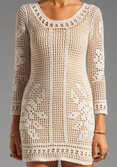 Crochet Dress in Filet Crochet…. Filet Crochet, Crochet Bolero, Hand Crochet, Knit Crochet, Mode Crochet, Wedding Dress Patterns, Dress Wedding, Prom Dress, Little Dresses