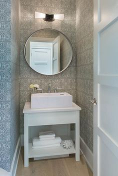 Stunning Small White And Gray Powder Room Is Equipped With A Bath Vanity Ed