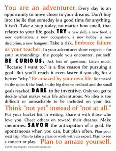 The Bucket List Life Manifesto (link to poster download) by Lara Krupicka