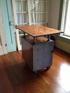Reclaimed wood industrial kitchen Island on casters, bar, galvanized pipe, grey cedar box, fir top, metal latch on Etsy, $425.00