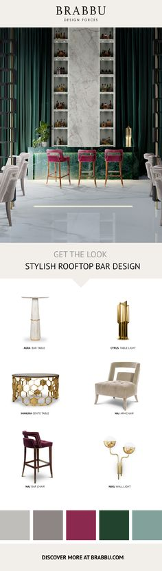 Get The Look | Stylish Rooftop Bar Design | Hotel Interior Design by #BRABBU #bardesign #interiordesign #modernchairs Discover more inspiration: https://www.brabbu.com/moodboards/