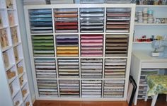 of the Week - Amazingly Organized Craft Room IKEA Expedit for paper storageIKEA Expedit for paper storage Scrapbook Room Organization, Scrapbook Storage, Craft Organization, Scrapbook Rooms, Scrapbook Paper, Craft Room Storage, Paper Storage, Storage Ideas, Craft Rooms