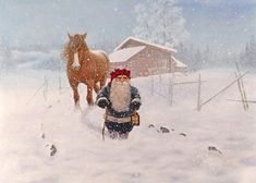 Swedish art Jan Bergerlind Gnome Tomte Horse Christmas Cards Bx of 12 560 Painted Christmas Cards, Christmas Text, Boxed Christmas Cards, Christmas Canvas, German Christmas, Merry Christmas, Swedish Tomte, Christmas Horses, Baumgarten