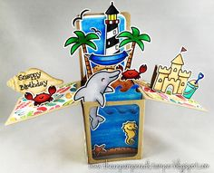 Snappy Birthday! Fun beach-themed birthday card made using Lawn Fawn stamps & dies. | by rachela.1