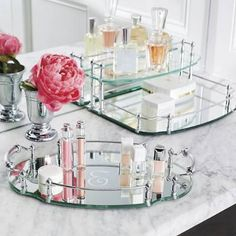 Our Belmont Personalized Vanity Trays are an exquisite showcase for perfumes, jewelry, or bath accessories. The trays distinctive style adds elegance to your vanity.