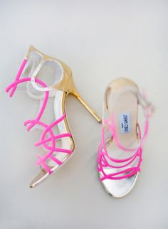 jimmy choos...pink with gold heels, sure to make a statement!