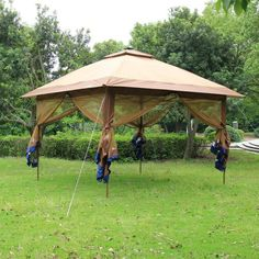 Fully-Enclosed Instant Popup Gazebo with Solar LED & Mosaic 13u0027 x 13u0027 Pop-Up Gazebo Canopy Mosaic | Home decor ...