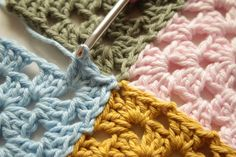 Crochet Corner: Join As You Go (JAYG) tutorial...thank you! Close-up of 4…