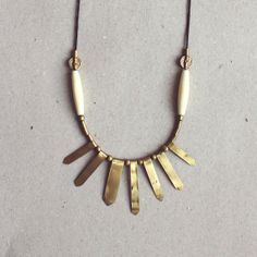 ASTRA necklace  Brass and vintage bone  di Tzunuum su Etsy, $90.00