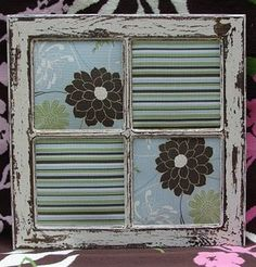 distressed window frame  ...would be cute with scrapbook paper & dry erase marker for menu items, grocery list, kid chores, behavior chart for the week