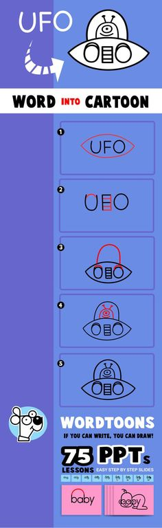 Draw the word UFO into a cartoon UFO. Get this as a PPT slide along with 75 Other Wordtoons http://wordtoons.com/product/wordtoons-ppt-slides/- includes workds like baby, cat, cop, bo and girl. Also the full alphabet.