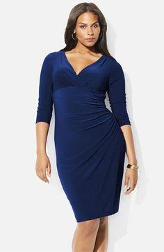 Lauren Ralph Lauren Surplice Matte Jersey Dress (Plus) available at #Nordstrom