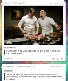 I think the Hannibal fandom is almost as crazy as the Sherlock fandom. <--- so is it a double dose if we are part of both?<< I'm part of superwholock,Hannibal, and avengers and let me tell you it's hell Hannibal Funny, Nbc Hannibal, Hannibal Lecter, Gordon Ramsey, Sherlock Fandom, Devious Maids, Fandoms, Mads Mikkelsen, Hemlock Grove