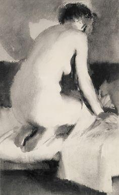 Лебедев Владимир Васильевич Натурщица со спины. 1927 Бумага, ламповая копоть.