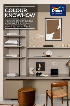 Dulux Paint Colours Neutral, Wall Colours, Neutral Tones, Paint Colors, Industrial Style Bedroom, London Apartment, Creative Studio, Bedroom Ideas, Cottage