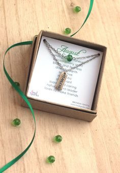 August Birthstone Necklace Peridot Birth Crystal by SoulSparks