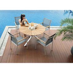 Oryx Tisch 3 Bein Teakplatte Zebra Möbel Gartenmöbel 120 Cm Rund