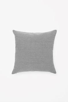 COS image 1 of Square raffia cushion in Black