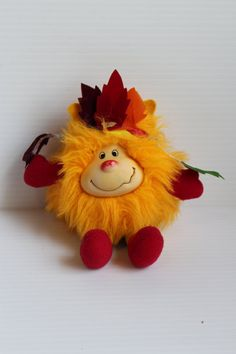 RAINBOW BRIGHT toy, Yellow Sprite, Vintage SPARK plush, 1980s Vintage Stuffed Plush, Toy with Yellow Fur, vintage Rainbow Bright toy