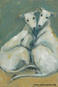 Two whippets, Acrylic on canvas, 90 x 60 cm