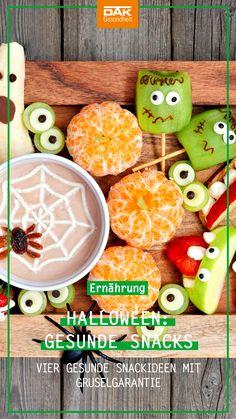 Süßes oder Saures? Für Kinder ist es ein Riesen-Spaß, am 31. Oktober gruselig verkleidet von Haus zu Haus zu ziehen und Süßigkeiten zu sammeln. Alternativ zu dem ganzen süßen Zeug haben wir für die Halloween-Party zu Hause vier gesunden Snackideen mit Gruselgarantie! Halloween Party, Trick Or Treat, Creepy, Health Snacks, Alternative, October, Halloween Parties