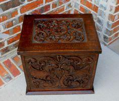 Antique-English-Ornately-Carved-Oak-Gothic-Hinged-Box-Storage-Chest-Griffins
