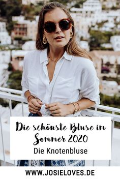 Die schönste Bluse im Sommer 2020 Josie Loves, Cooler Look, Must Haves, Bikini, Summer, Outfits, White Blouse Outfit, Beautiful Blouses, Styling Tips
