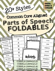 Parts of Speech Foldables! styles for lapbooks, INB's, and more! All CCSS aligned Teaching Language Arts, Classroom Language, Teaching Writing, Speech And Language, Teaching English, Receptive Language, Teaching Ideas, 6th Grade Ela, 2nd Grade Reading