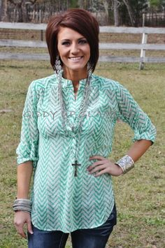 Giddy Up Glamour  $32.95  Everly Sheer Perfection Green Top