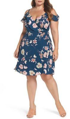 Plus Size Women's City Chic Lulu Floral Wrap Dress