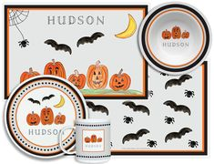 Personalized Haunted Halloween 4-Piece Dinnerware Set