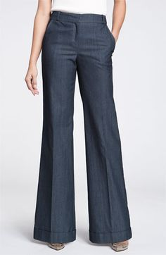 John Collection 'Paula' Wide Leg Denim Pants available at Formal Trousers Women, Pants For Women, Wide Leg Denim, Wide Leg Trousers, Wide Legs, Military Inspired Fashion, Denim Pants, Trouser Jeans, Look Chic
