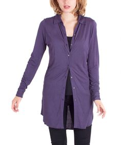 Look at this Cino Dark Plum Collared Button-Up Tunic - Women on today! Hippy Fashion, Stitch Fix, Plum, Button Up, Collars, That Look, Autumn Fashion, Tunic Tops, Blazer