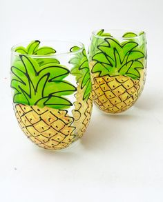 Hand Painted Pineapple Stemless Wine Glass - 21oz - Also comes on 20oz Stemmed Wine Glass - Select Style in Listing This juicy design is