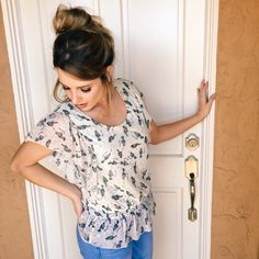 """Put A Bird On It"" Summer Blouse This darling summer blouse has a cream background and gray birds detailed in black. It has small black polka dots and rose colored stars. It has a scoop neck, is sleeveless with a flounce cap extending down the sides of the blouse, and an elastic peplum waist. Forever 21 Tops Blouses"