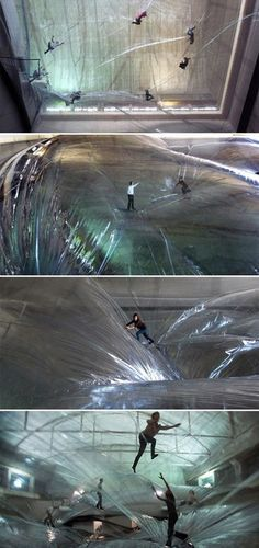 """On Space Time Foam  """"On Space Time Foam""""is a site-specific installation created by Argentinian artistTomàs Saracenousing multiple layers of translucent PVC membranes suspended 78 feet (24 meters) above the ground. The large-scale aerial structure will be on display at the Hanger Bicocca in Milan, Italy until February 3rd, 2013."""