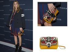 Olivia Palermo carries the Paula Cademartori  Carine shoulder bag in nappa leather and suede with multi-coloured lizard inserts and polished silver metal buckle to the Tommy Hilfiger boutique opening in Paris