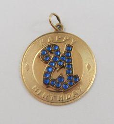 Happy 21 Birthday With Blue Stones 14K Gold Vintage Charm For Bracelet by SilverHillz on Etsy https://www.etsy.com/listing/262624692/happy-21-birthday-with-blue-stones-14k