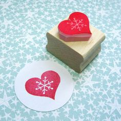 Christmas Stamp Snowflake Heart Hand Carved by skullandcrossbuns