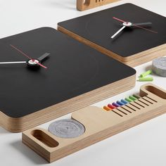 Blackboard Wall Clock // a multi-functional reinvention designed by Enrico Azzimonti for Diamantini & Domeniconi, this square clock features a blackboard face and a little hidden drawer that slides out to reveal a set of brightly colored chalk and eraser. Objet Deco Design, Blackboard Wall, Colored Chalk, Modern Clock, Cnc Projects, Wood Clocks, Blackboards, Wood Design, Wood Crafts