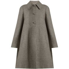 Rochas Hound's-tooth checked wool-blend coat ($1,967) ❤ liked on Polyvore featuring outerwear, coats, wool blend coat, cropped cardigan shrug, cropped shrug, polka dot coat and checked coat